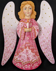 WOW! BEAUTIFUL FLORAL HAND PAINTED LINDEN WOOD ANGEL STATUE PINK w/CANDLE #1000