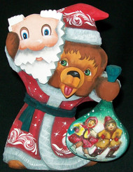 HAND CARVED & HAND PAINTED RUSSIAN BEAR PRETENDING TO BE SANTA #7725