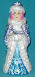 A BLUE, PURPLE & WHITE HAND PAINTED RUSSIAN TRADITIONAL SNOWMAIDEN w/ DOVE #7712