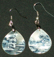 MOTHER OF PEARL HAND PAINTED RUSSIAN EARRINGS #2998 BLUE & WHITE