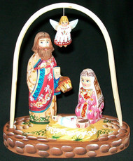 LOVELY HANDCARVED & HANDPAINTED RUSSIAN NATIVITY BABY JESUS & FLYING ANGEL #0594