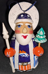 WOW! HAND CRAFTED DENVER BRONCOS WOODEN SANTA CLAUS TREE ORNAMENT