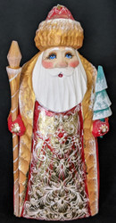 BRIGHT, SHINY, RED & GOLD, HAND PAINTED LINDEN WOOD SANTA CLAUS #5909