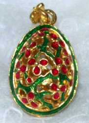 LABYRINTHINE VINES on Russian Faberge Egg Charm - RED, GREEN, GOLD FLOWERS #1731