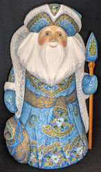 STUNNING HANDCARVED & HANDPAINTED RUSSIAN SANTA CLAUS w/BLUE FLORAL CLOAK #3082