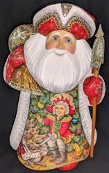 WOW! BRIGHT RED HAND PAINTED RUSSIAN ABRAMTSOVA SANTA w/NUTCRACKER SCENE #2867