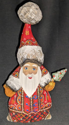 A BEAUTIFUL HANDPAINTED GREEN & GOLD RUSSIAN SANTA #5074 HANDCARVED WOOD STATUE