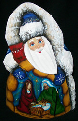 A LOVELY BLUE HAND PAINTED RUSSIAN SANTA w/ NATIVITY SCENE #8382