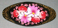 PINK & RED HAND CRAFTED RUSSIAN PAPIER MACHE BARRETTE #3180