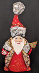 A BRIGHT RED & GOLD HANDPAINTED RUSSIAN SANTA CLAUS #5095 HANDCARVED LINDEN WOOD