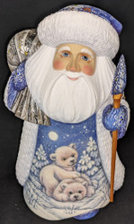 REMARKABLE HAND CARVED & PAINTED SCENIC RUSSIAN SANTA w/POLAR BEAR CUBS #7884