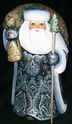 STRIKING BLUE & SILVER HAND CARVED & HAND PAINTED RUSSIAN SANTA #8496