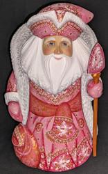 RUSSIAN SANTA CLAUS w/PINK & WHITE FLORAL CLOAK #2907 HANDPAINTED WOOD STATUE