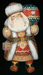 SANTA HANDPAINTED WITH BRIGHTLY COLORED CLOAK & LANTERN #5796