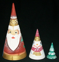CONE SHAPED 3 PC HAND CARVED & PAINTED SANTA CLAUS MATRYOSHKA NESTING SET #4567