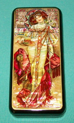 LOVELY MAIDEN - RUSSIAN HAND PAINTED MOTHER OF PEARL LACQUER BOX  #0633