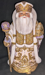 STRIKING PURPLE & GOLD HAND CARVED & PAINTED RUSSIAN SANTA 1854 w/TREASURE CHEST