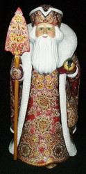 WOW! AMAZING HAND PAINTED RED & GOLD RUSSIAN SANTA w/ BEADED CLOAK #1978