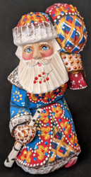 FANTASTIC HAND PAINTED BRIGHT BLUE, RED & GOLD STOOPED SANTA CLAUS w/ PACK #5637