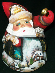 BEAUTIFUL HANDPAINTED SCENIC SANTA CLAUS #2381 w/GOLDEN BELL