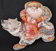 WOW! STUNNING HAND PAINTED RUSSIAN SANTA ON A POLAR BEAR w/ FOREST ANIMALS #7264