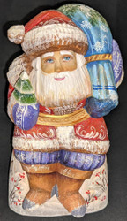 MARVELOUS SCENIC HAND PAINTED RUSSIAN SANTA CLAUS w/TOY BUNNY RABBIT #0891