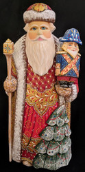 RUSSIAN HAND PAINTED BRIGHTLY COLORED SANTA CLAUS w/NUTCRACKER SOLDIER #0585