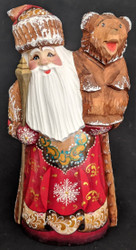 GOLD & RED HAND PAINTED RUSSIAN SANTA CLAUS w/ TRADITIONAL RUSSIAN BEAR #4491