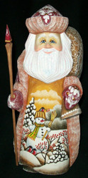 DELIGHTFUL SCENIC HAND PAINTED RUSSIAN SANTA CLAUS #4793 FRIENDLY SNOWMAN