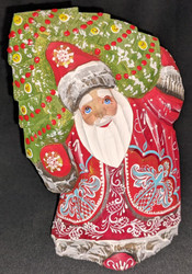 A WONDERFUL HANDPAINTED RED & WHITE RUSSIAN SANTA / GRANDFATHER FROST #0683