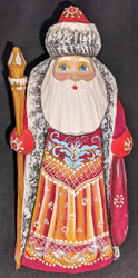 AN AMAZING HAND CARVED & HAND PAINTED RUSSIAN LINDEN WOOD SANTA CLAUS #7620