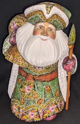 RUSSIAN SANTA CLAUS w/GREEN & GOLD FLORAL CLOAK #0880 HANDPAINTED WOOD STATUE