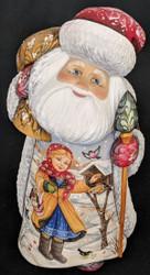 Santa w/ Young Girl Feeding Birds #7846 - Russian Linden Wood Abramtsova Santa