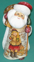 Santa w/ Girl Bringing Apples #7865 - Russian Linden Wood Abramtsova Santa