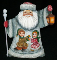 HAND CARVED & HAND PAINTED RUSSIAN SCENIC SANTA CLAUS w/LANTERN & CHILDREN #7760