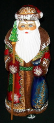 Hand Painted Red & Gold Russian Santa Claus #4418 - Handcarved Wooden Statue