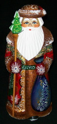 Hand Painted Red & Gold Russian Santa Claus #4404 - Handcarved Wooden Statue
