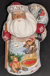 FANTASTIC HAND PAINTED RUSSIAN SCENIC SANTA w/CHILDREN PLAYING IN THE SNOW #4304
