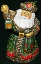 INCREDIBLE HANDPAINTED RUSSIAN LINDEN WOOD SANTA CLAUS w/CANDLE LIT LANTERN 0551