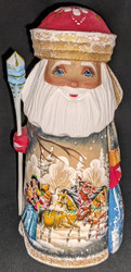 BEAUTIFUL RUSSIAN HAND PAINTED SANTA CLAUS w/TRADITIONAL 3 HORSE TROIKA #5950