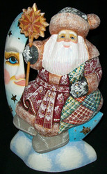 SANTA CLAUS SITTING ON THE MOON #3364 HAND CARVED & PAINTED LINDEN WOOD STATUE