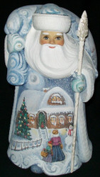 UNBELIEVABLE SCENIC HAND PAINTED SANTA CLAUS #6495 w/ VICTORIAN CHRISTMAS SCENES