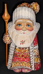 HANDPAINTED BRIGHTLY COLORED GNOME-LIKE LINDEN WOOD SANTA CLAUS STATUE #5674