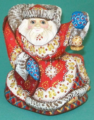 MARVELOUS BRIGHTLY HANDPAINTED HANDCARVED RUSSIAN SANTA ON ROCKING CHAIR #5853