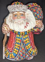 LOVELY HANDPAINTED BRIGHTLY COLORED RED & GOLD SANTA w/RUSTIC WALKING STICK 5681