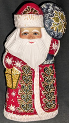 LOVELY HAND PAINTED RUSSIAN GOLDEN UZOR SANTA CLAUS #0433 RED & GOLD w/LANTERN