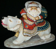 WOW! UNBELIEVABLE HANDCARVED, HANDPAINTED RUSSIAN SANTA RIDING POLAR BEAR #4679