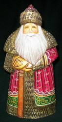 FANTASTIC HAND PAINTED RASPBERRY & GREEN RUSSIAN OLD WORLD SANTA CLAUS #8687
