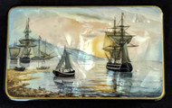 SEAFARING SHIPS - SCENIC HAND PAINTED RUSSIAN MOTHER OF PEARL LACQUER BOX #2018