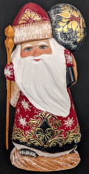 Golden Uzor Russian Hand Painted Santa Claus on Wooden Stump #4967